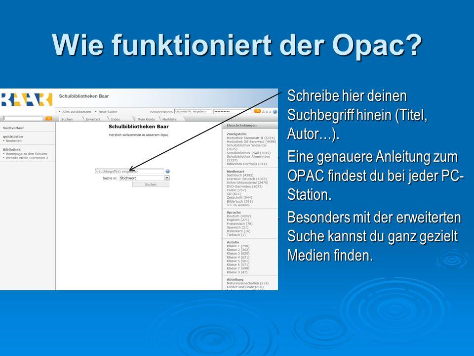 Wie funktioniert der Opac. Schreibe hier deinen Suchbegriff hinein (Titel, Autor…).