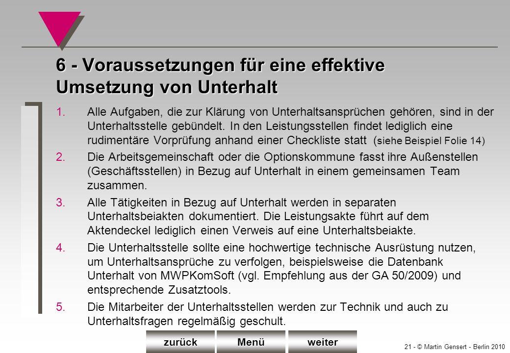 21 - © Martin Gensert - Berlin 2010 6 - Voraussetzungen für eine effektive Umsetzung von Unterhalt 1.Alle Aufgaben, die zur Klärung von Unterhaltsansp