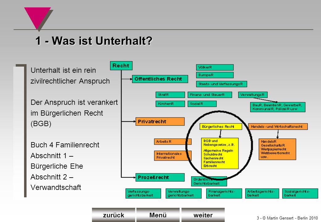 14 - © Martin Gensert - Berlin 2010 oMöglichkeit A: Auf Befragen erklärt der Kunde: Ich mache bereits Unterhaltsansprüche gegen xyz geltend.