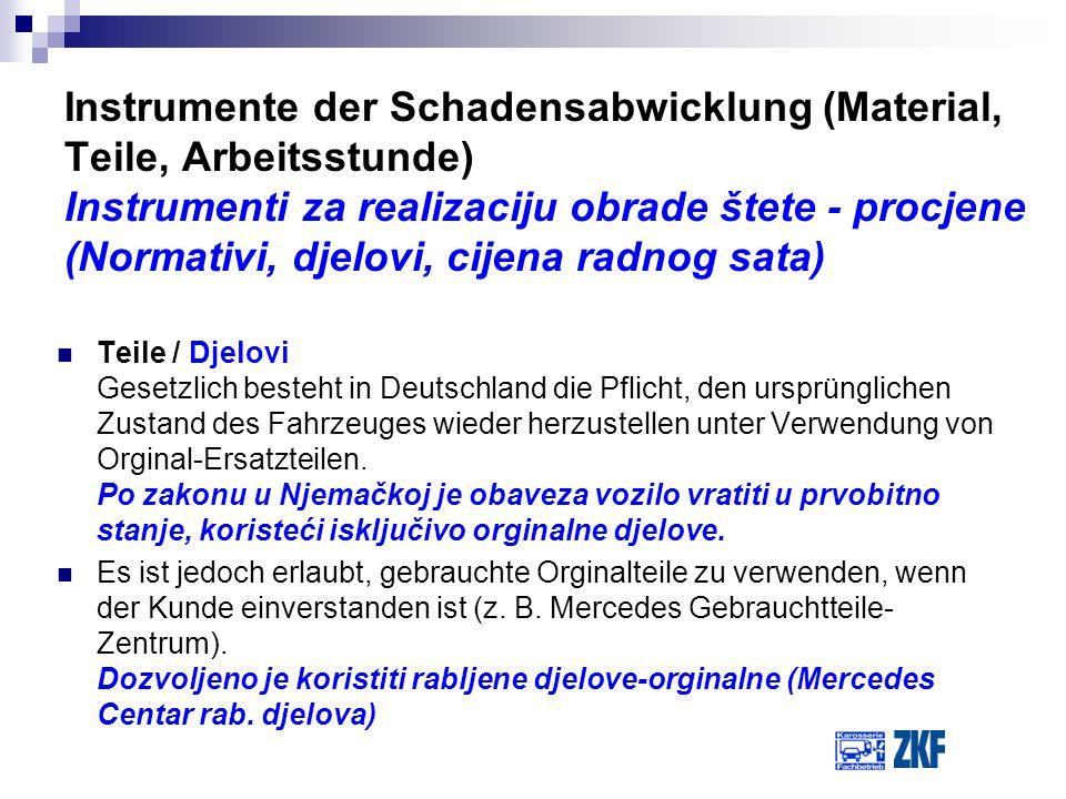Teile / Djelovi Gesetzlich besteht in Deutschland die Pflicht, den ursprünglichen Zustand des Fahrzeuges wieder herzustellen unter Verwendung von Orgi