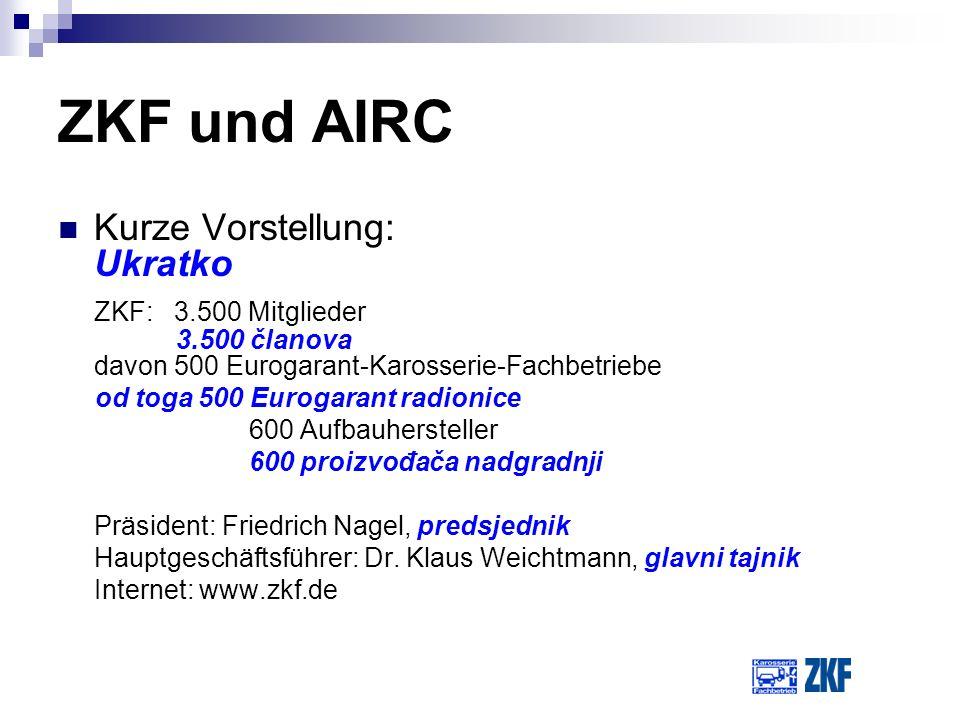 ZKF und AIRC Kurze Vorstellung: Ukratko ZKF: 3.500 Mitglieder 3.500 članova davon 500 Eurogarant-Karosserie-Fachbetriebe od toga 500 Eurogarant radion