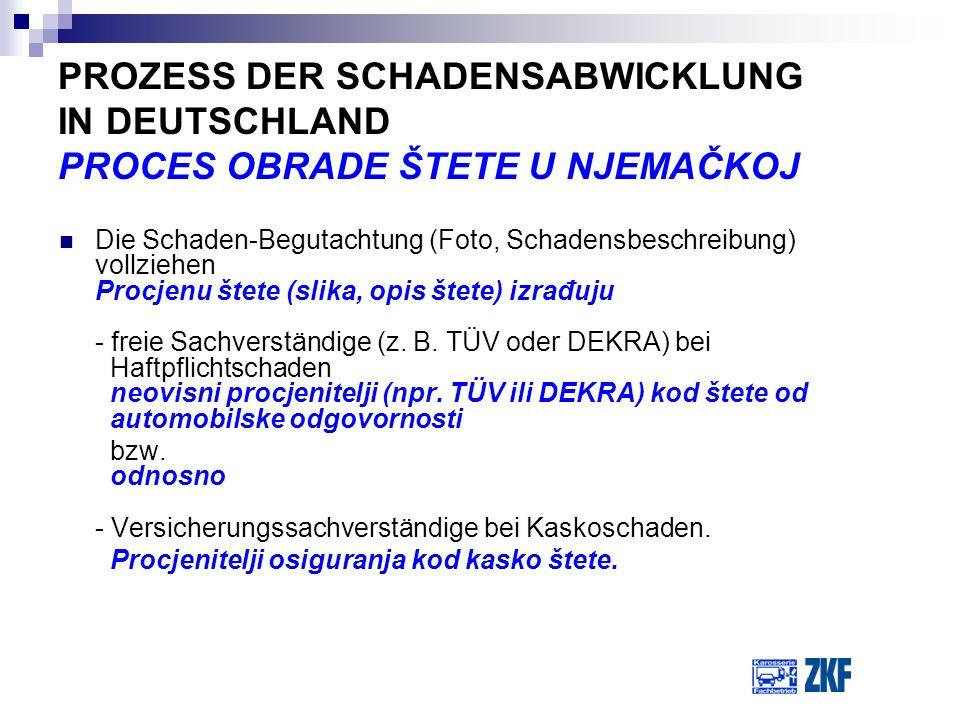 PROZESS DER SCHADENSABWICKLUNG IN DEUTSCHLAND PROCES OBRADE ŠTETE U NJEMAČKOJ Die Schaden-Begutachtung (Foto, Schadensbeschreibung) vollziehen Procjen