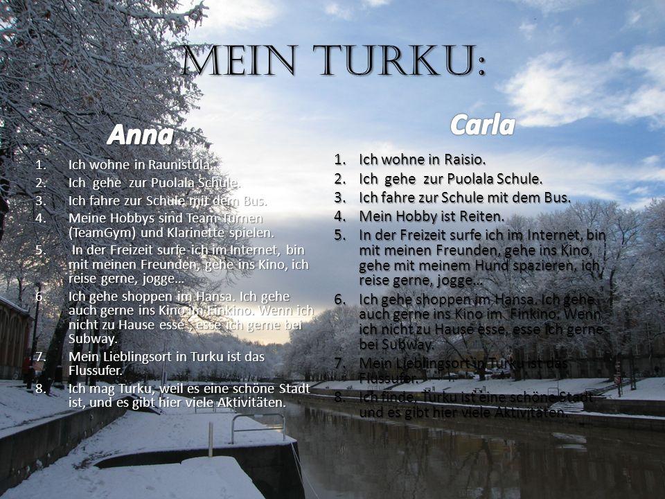 Mein Turku: 1.Ich wohne in Raunistula. 2.Ich gehe zur Puolala Schule. 3.Ich fahre zur Schule mit dem Bus. 4.Meine Hobbys sind Team-Turnen (TeamGym) un