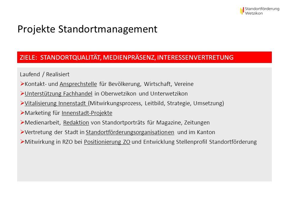 Projekte Standortmanagement ZIELE: STANDORTQUALITÄT, MEDIENPRÄSENZ, INTERESSENVERTRETUNG Laufend / Realisiert Kontakt- und Ansprechstelle für Bevölker
