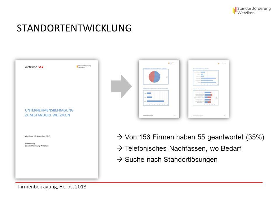 STANDORTENTWICKLUNG Firmenbefragung, Herbst 2013 Von 156 Firmen haben 55 geantwortet (35%) Telefonisches Nachfassen, wo Bedarf Suche nach Standortlösu