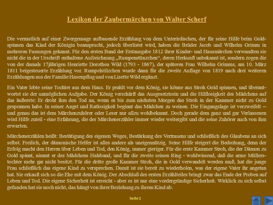 Lexikon der Zaubermärchen von Walter Scherf Die vermutlich auf einer Zwergensage aufbauende Erzählung von dem Unterirdischen, der für seine Hilfe beim