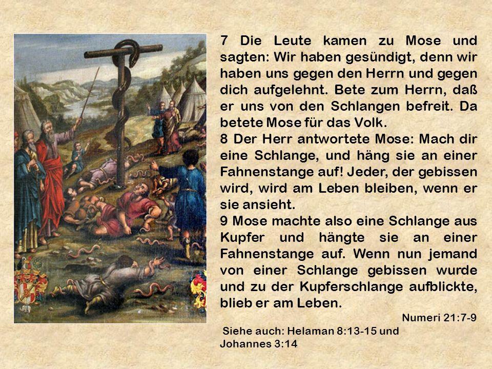 7 Die Leute kamen zu Mose und sagten: Wir haben gesündigt, denn wir haben uns gegen den Herrn und gegen dich aufgelehnt. Bete zum Herrn, daß er uns vo