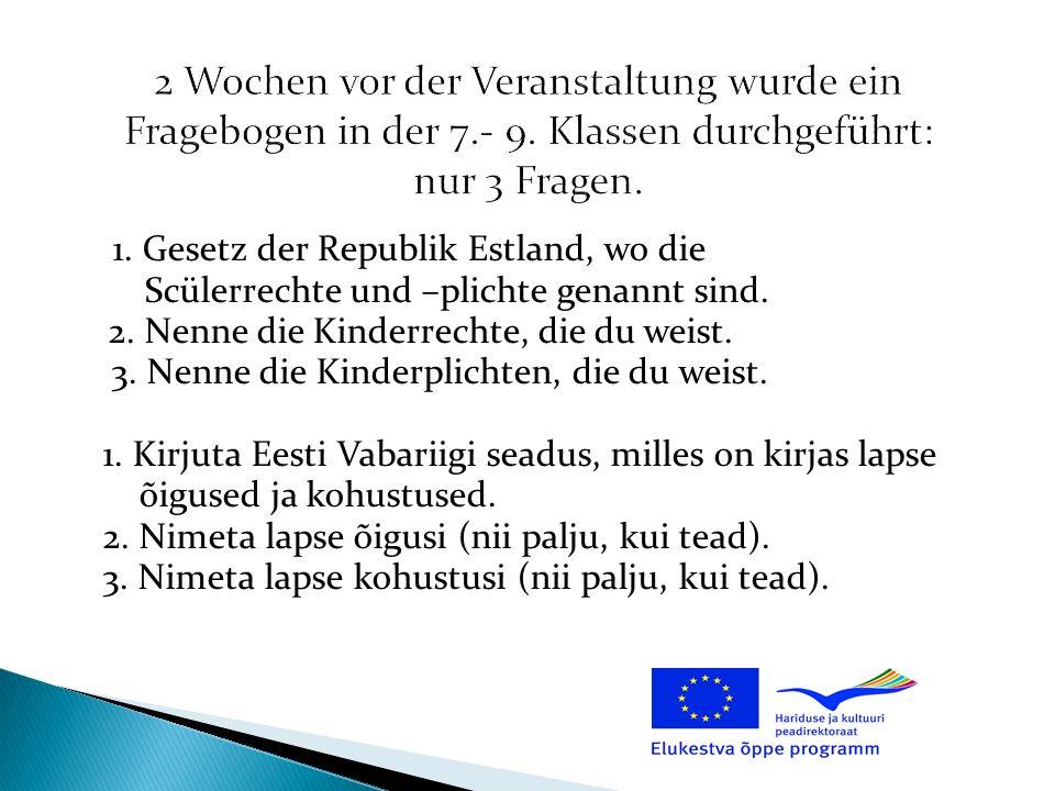 1. Gesetz der Republik Estland, wo die Scülerrechte und –plichte genannt sind. 2. Nenne die Kinderrechte, die du weist. 3. Nenne die Kinderplichten, d