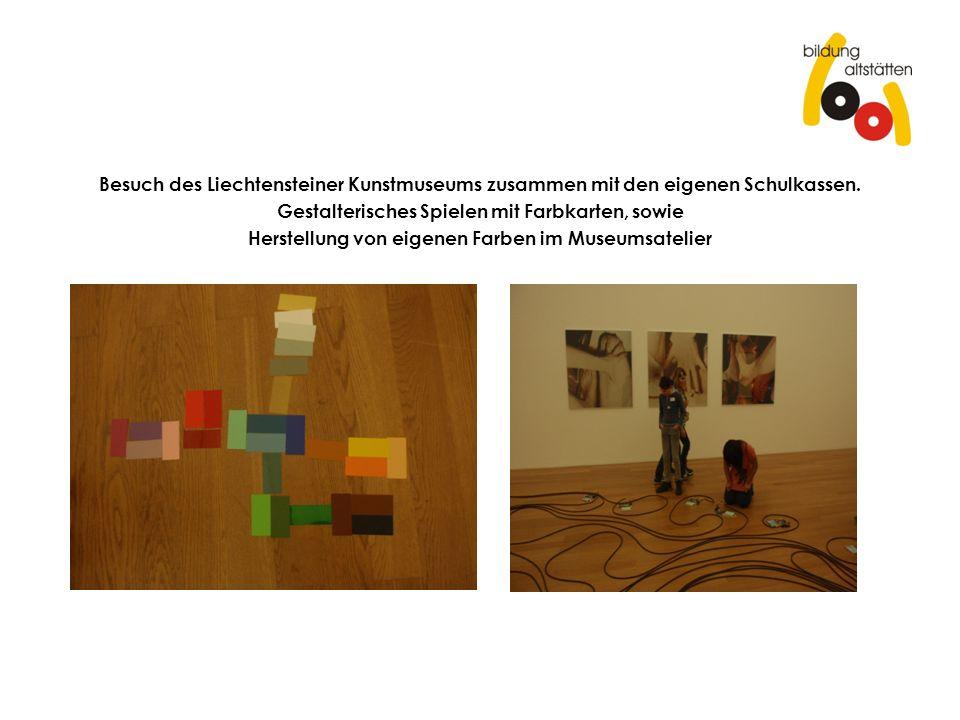 Besuch des Liechtensteiner Kunstmuseums zusammen mit den eigenen Schulkassen. Gestalterisches Spielen mit Farbkarten, sowie Herstellung von eigenen Fa