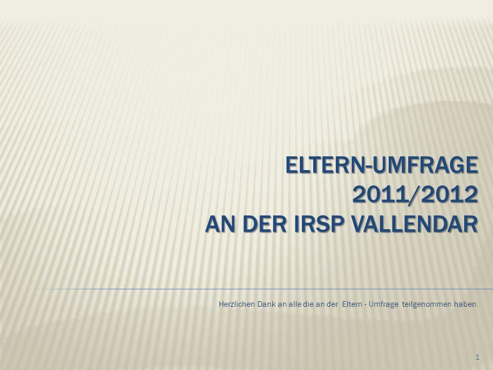 ELTERN-UMFRAGE 2011/2012 AN DER IRSP VALLENDAR Herzlichen Dank an alle die an der Eltern - Umfrage teilgenommen haben.