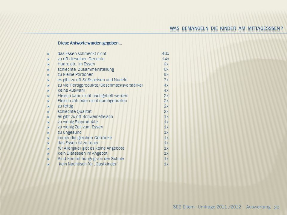 19 SEB Eltern - Umfrage 2011 /2012 - Auswertung