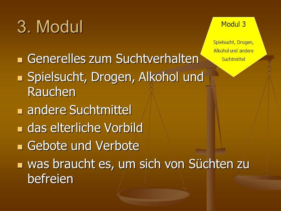 3. Modul Generelles zum Suchtverhalten Generelles zum Suchtverhalten Spielsucht, Drogen, Alkohol und Rauchen Spielsucht, Drogen, Alkohol und Rauchen a