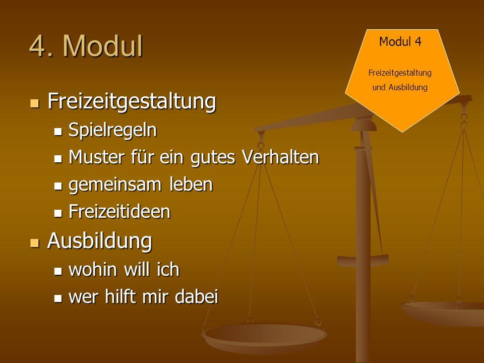 4. Modul Freizeitgestaltung Freizeitgestaltung Spielregeln Spielregeln Muster für ein gutes Verhalten Muster für ein gutes Verhalten gemeinsam leben g
