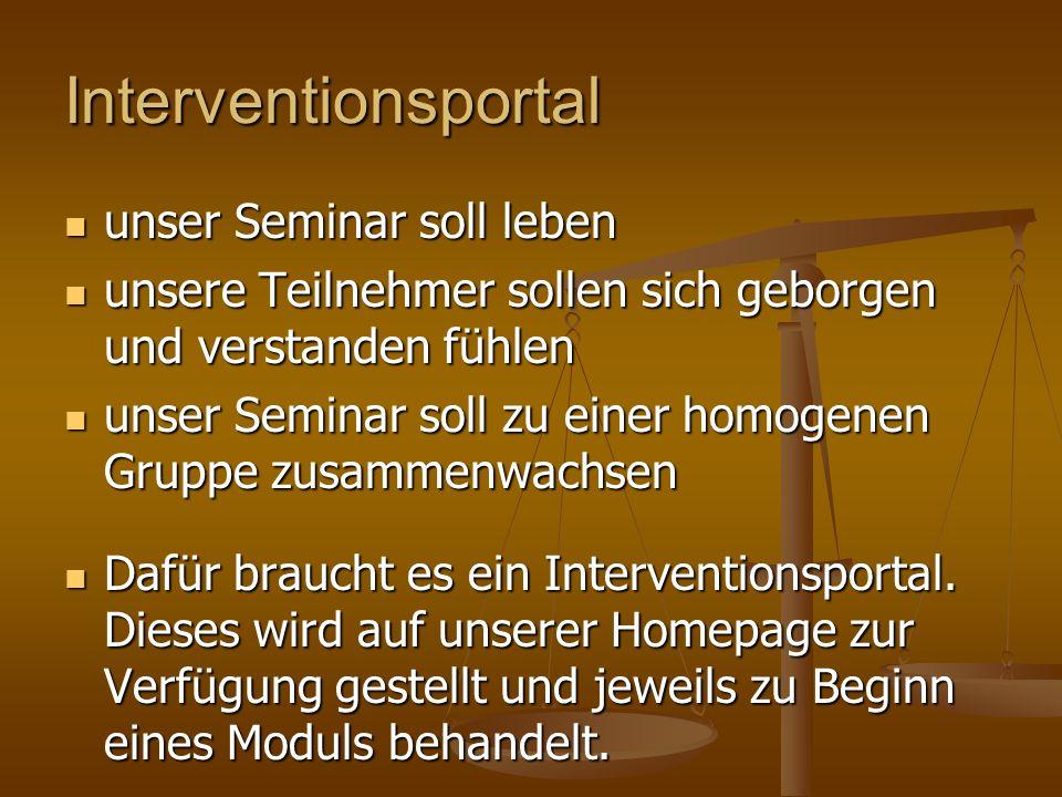 Interventionsportal unser Seminar soll leben unser Seminar soll leben unsere Teilnehmer sollen sich geborgen und verstanden fühlen unsere Teilnehmer s