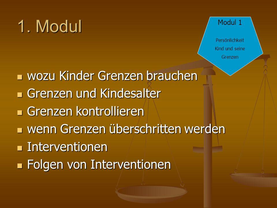 1. Modul wozu Kinder Grenzen brauchen wozu Kinder Grenzen brauchen Grenzen und Kindesalter Grenzen und Kindesalter Grenzen kontrollieren Grenzen kontr