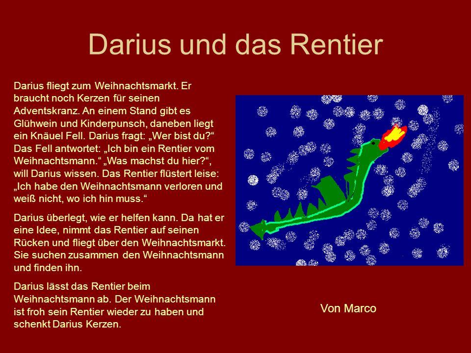 Darius und das Rentier Darius fliegt zum Weihnachtsmarkt. Er braucht noch Kerzen für seinen Adventskranz. An einem Stand gibt es Glühwein und Kinderpu