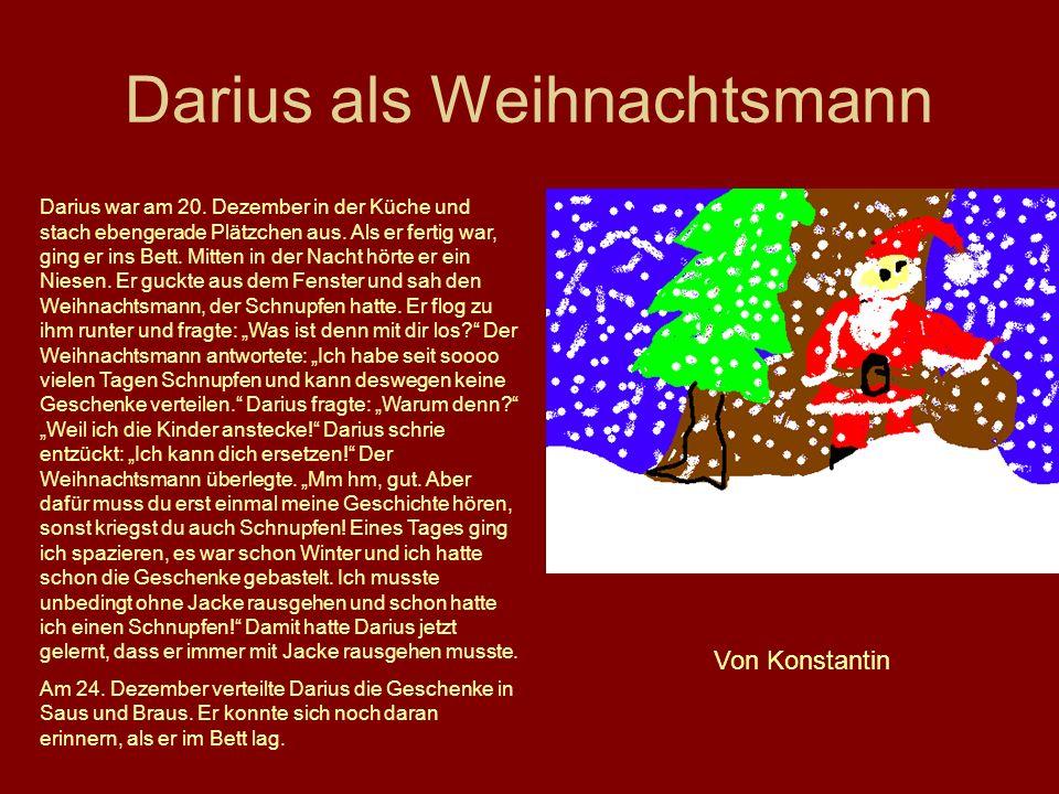Darius als Weihnachtsmann Darius war am 20. Dezember in der Küche und stach ebengerade Plätzchen aus. Als er fertig war, ging er ins Bett. Mitten in d