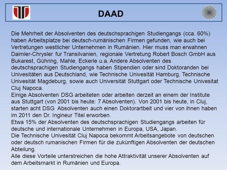 Die Mehrheit der Absolventen des deutschsprachigen Studiengangs (cca. 60%) haben Arbeitsplatze bei deutsch-rumänischen Firmen gefunden, wie auch bei V