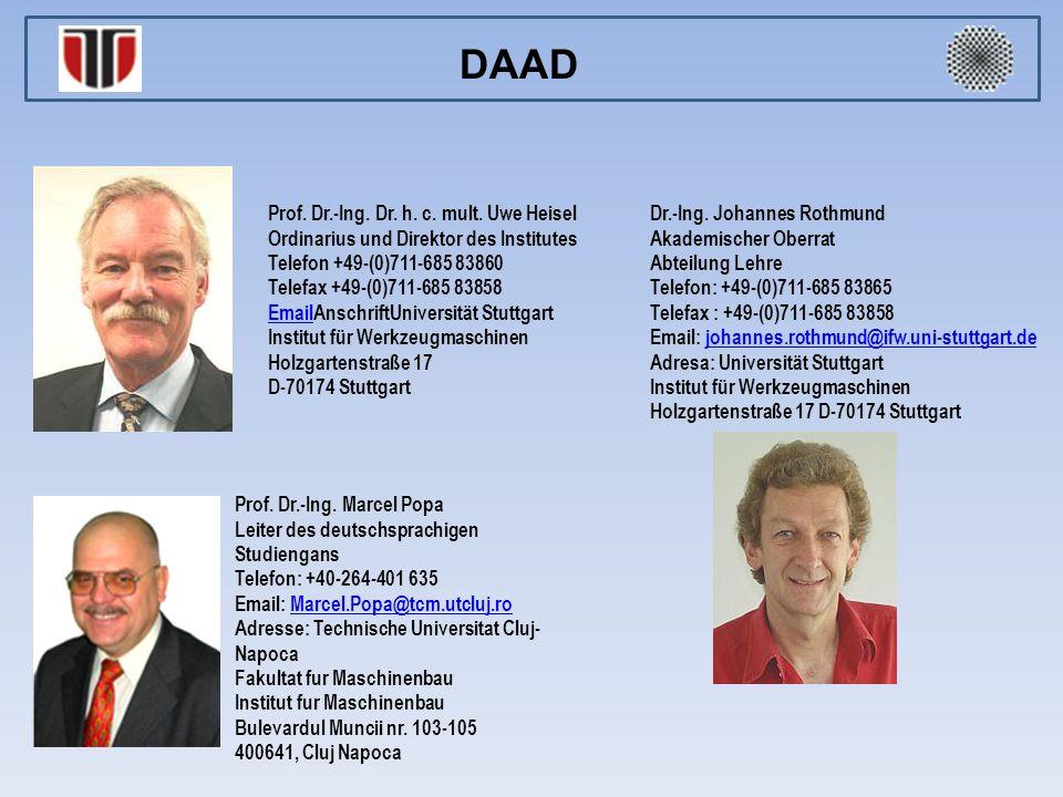 Prof. Dr.-Ing. Dr. h. c. mult. Uwe Heisel Ordinarius und Direktor des Institutes Telefon +49-(0)711-685 83860 Telefax +49-(0)711-685 83858 EmailEmailA