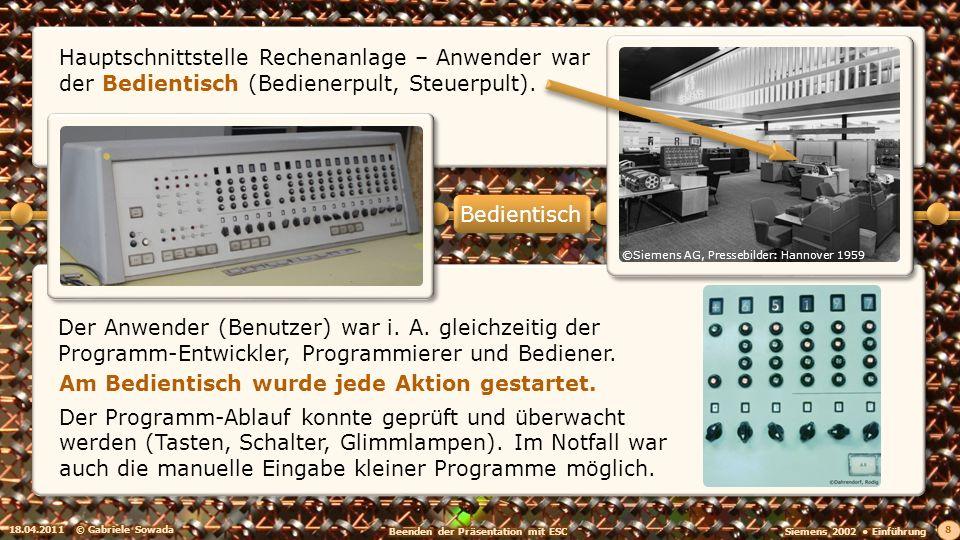 Der Anwender (Benutzer) war i. A. gleichzeitig der Programm-Entwickler, Programmierer und Bediener. 18.04.2011© Gabriele Sowada 8 Hauptschnittstelle R