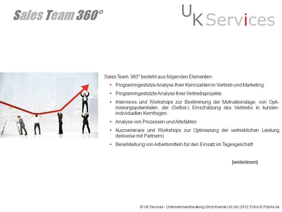 © UK Services - Unternehmensberatung Ulrich Kramer UG (hb) 2012; Fotos © Fotolia.de Sales Team 360° besteht aus folgenden Elementen: Programmgestütze
