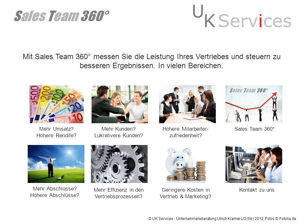 Mit Sales Team 360° messen Sie die Leistung Ihres Vertriebes und steuern zu besseren Ergebnissen. In vielen Bereichen. Mehr Umsatz? Höhere Rendite? Me