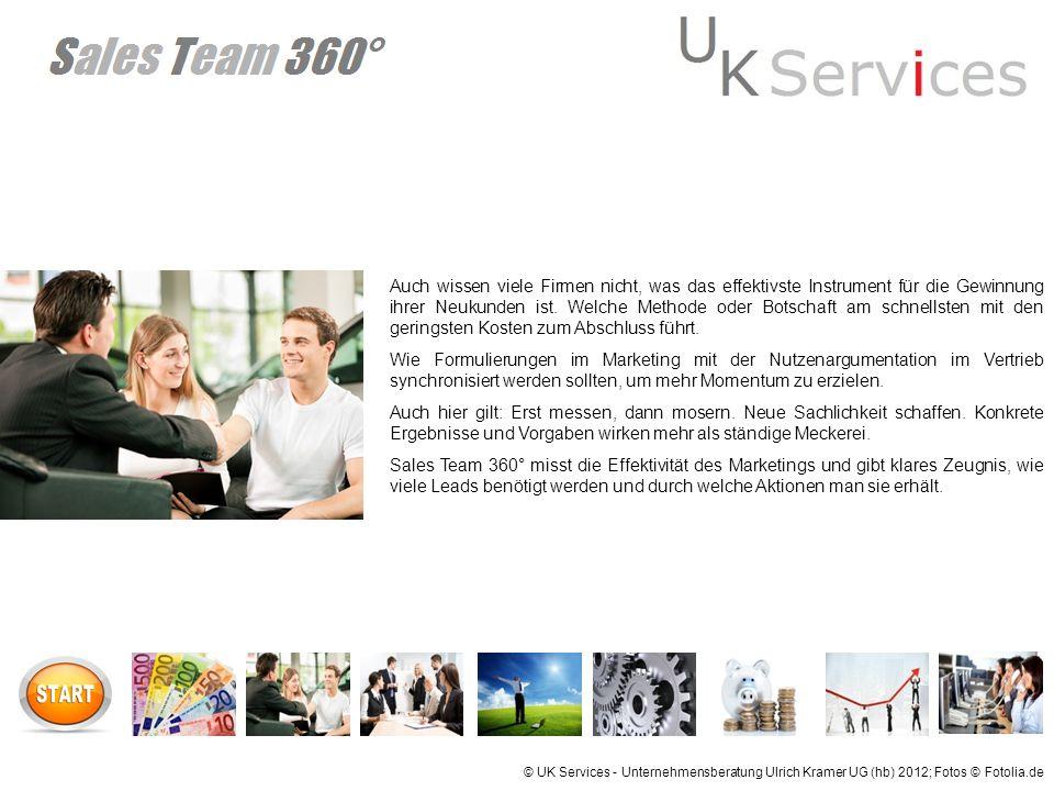 © UK Services - Unternehmensberatung Ulrich Kramer UG (hb) 2012; Fotos © Fotolia.de Sales Team 360° besteht aus folgenden Elementen: Programmgestütze Analyse Ihrer Kennzahlen in Vertrieb und Marketing.