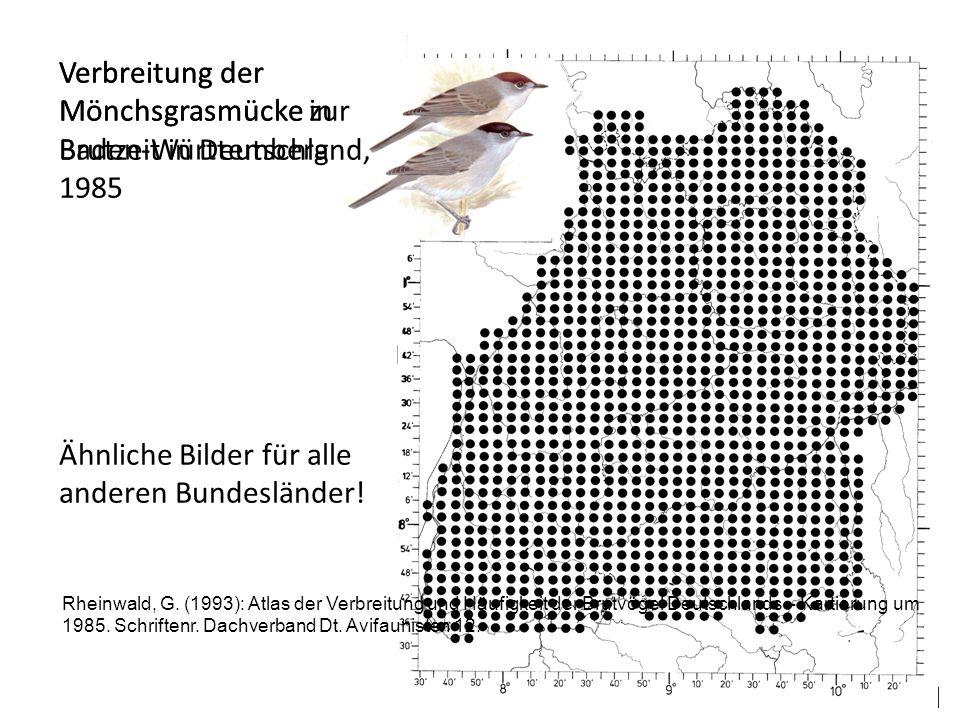 Verbreitung der Mönchsgrasmücke in Baden-Württemberg Ähnliche Bilder für alle anderen Bundesländer! Rheinwald, G. (1993): Atlas der Verbreitung und Hä