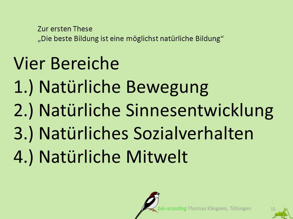 Zur ersten These Die beste Bildung ist eine möglichst natürliche Bildung 15 Vier Bereiche 1.) Natürliche Bewegung 2.) Natürliche Sinnesentwicklung 3.)