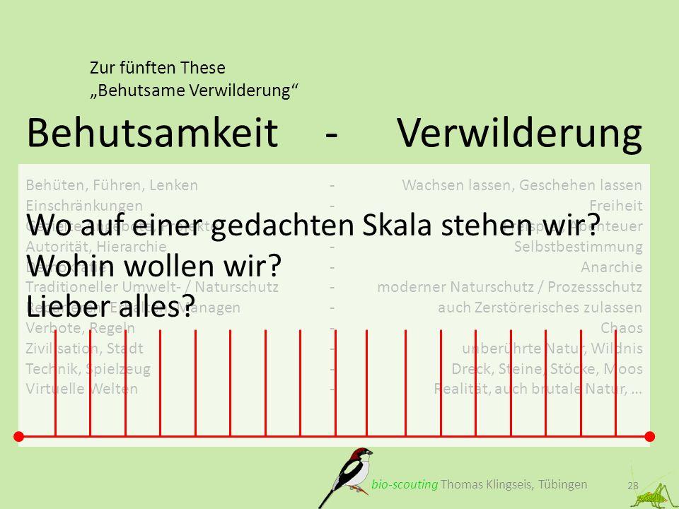 Zur fünften These Behutsame Verwilderung 28 Behutsamkeit - bio-scouting Thomas Klingseis, Tübingen Behüten, Führen, Lenken- Einschränkungen- Gezielte