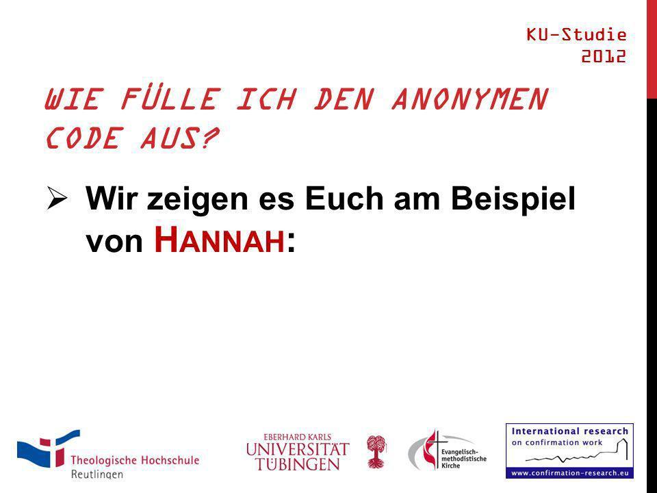 WIE FÜLLE ICH DEN ANONYMEN CODE AUS Wir zeigen es Euch am Beispiel von H ANNAH : KU-Studie 2012