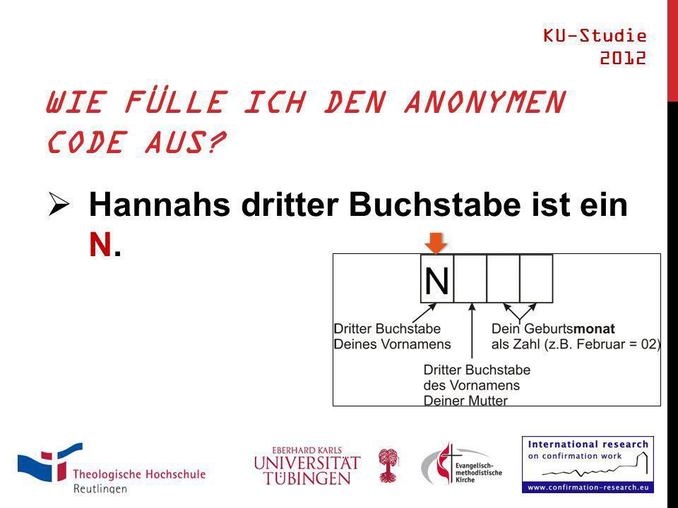 WIE FÜLLE ICH DEN ANONYMEN CODE AUS Hannahs dritter Buchstabe ist ein N. KU-Studie 2012 N