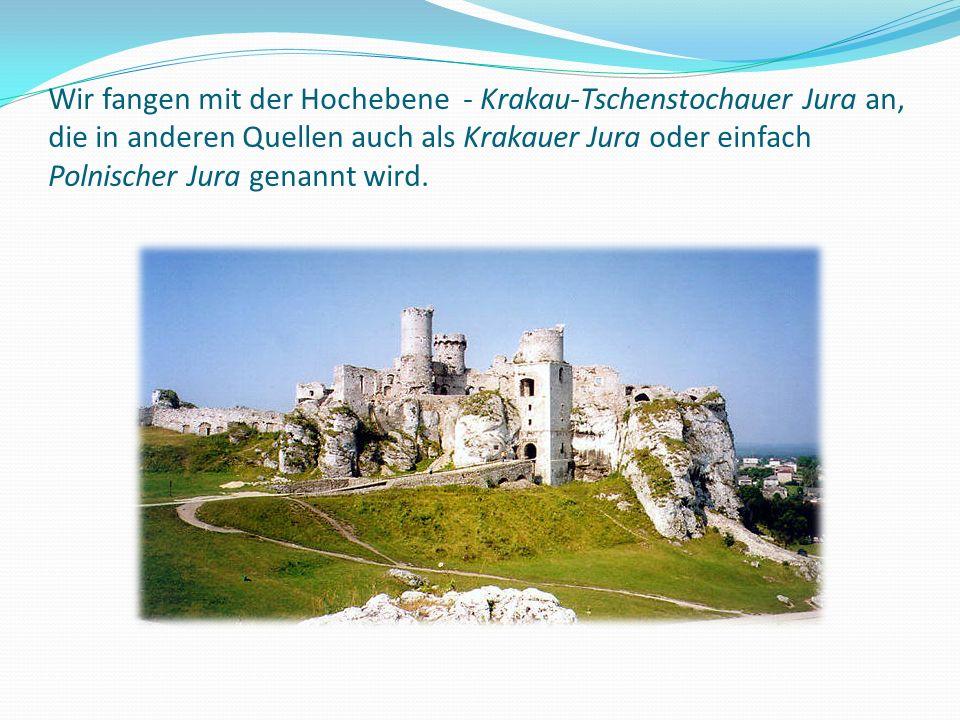 Wir fangen mit der Hochebene - Krakau-Tschenstochauer Jura an, die in anderen Quellen auch als Krakauer Jura oder einfach Polnischer Jura genannt wird