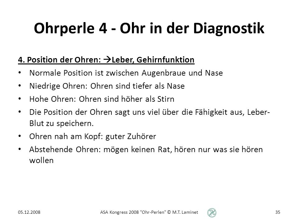 Ohrperle 4 - Ohr in der Diagnostik 4.