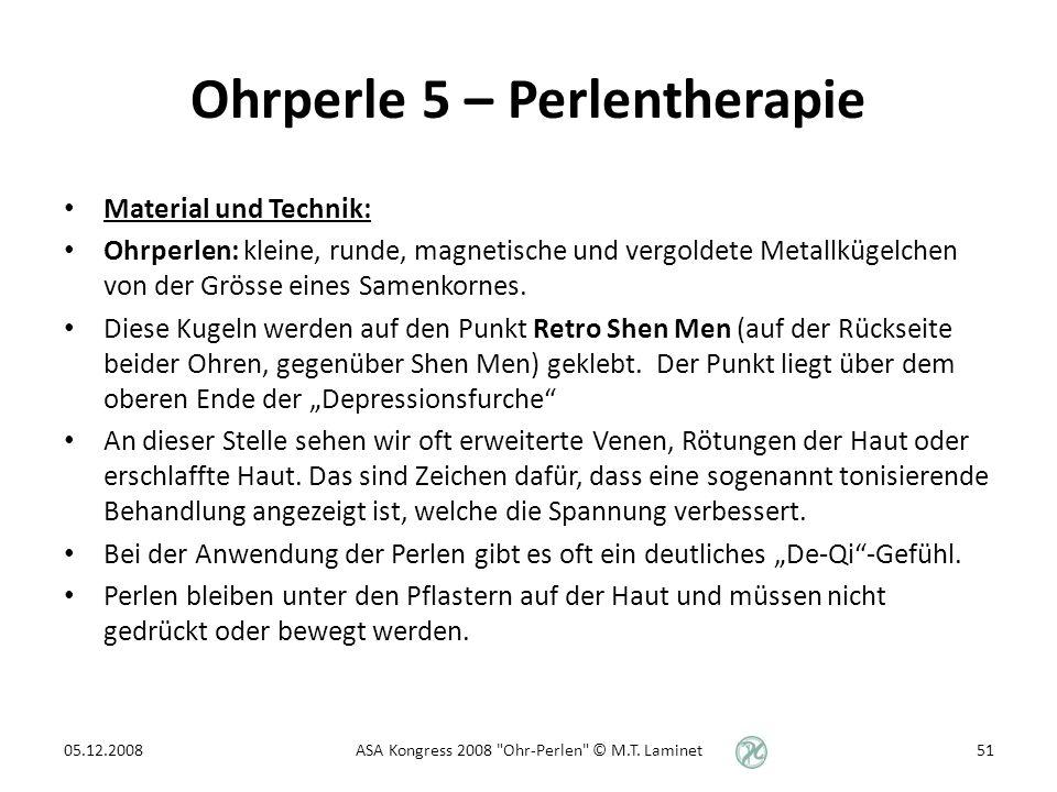 Ohrperle 5 – Perlentherapie Material und Technik: Ohrperlen: kleine, runde, magnetische und vergoldete Metallkügelchen von der Grösse eines Samenkornes.