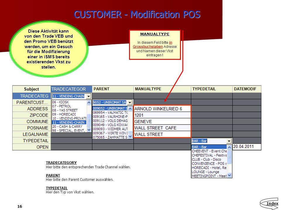 16 CUSTOMER - Modification POS Diese Aktivität kann von den Trade VEB und den Promo VEB benützt werden, um ein Gesuch für die Modifizierung einer in i