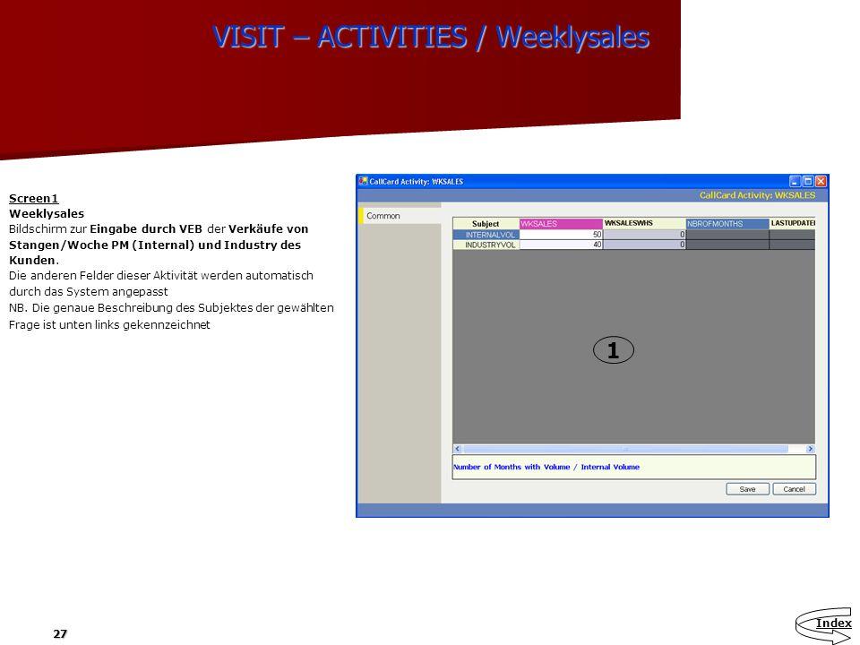 27 VISIT – ACTIVITIES / Weeklysales ACTIVITIES Screen1 Weeklysales Bildschirm zur Eingabe durch VEB der Verkäufe von Stangen/Woche PM (Internal) und I