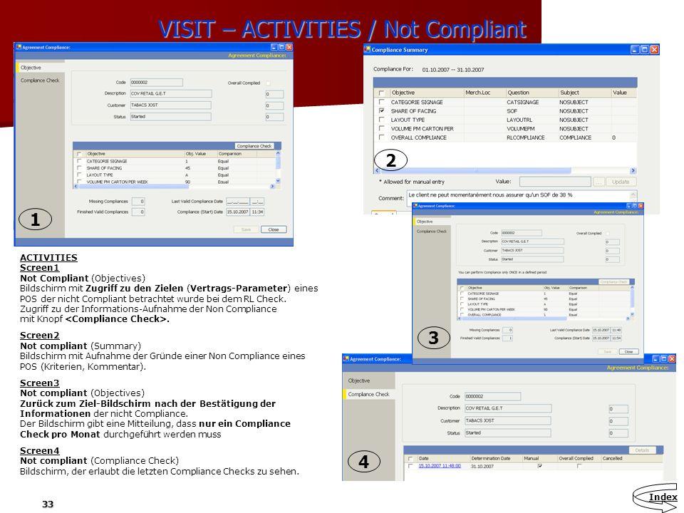 33 VISIT – ACTIVITIES / Not Compliant ACTIVITIES Screen1 Not Compliant (Objectives) Bildschirm mit Zugriff zu den Zielen (Vertrags-Parameter) eines PO