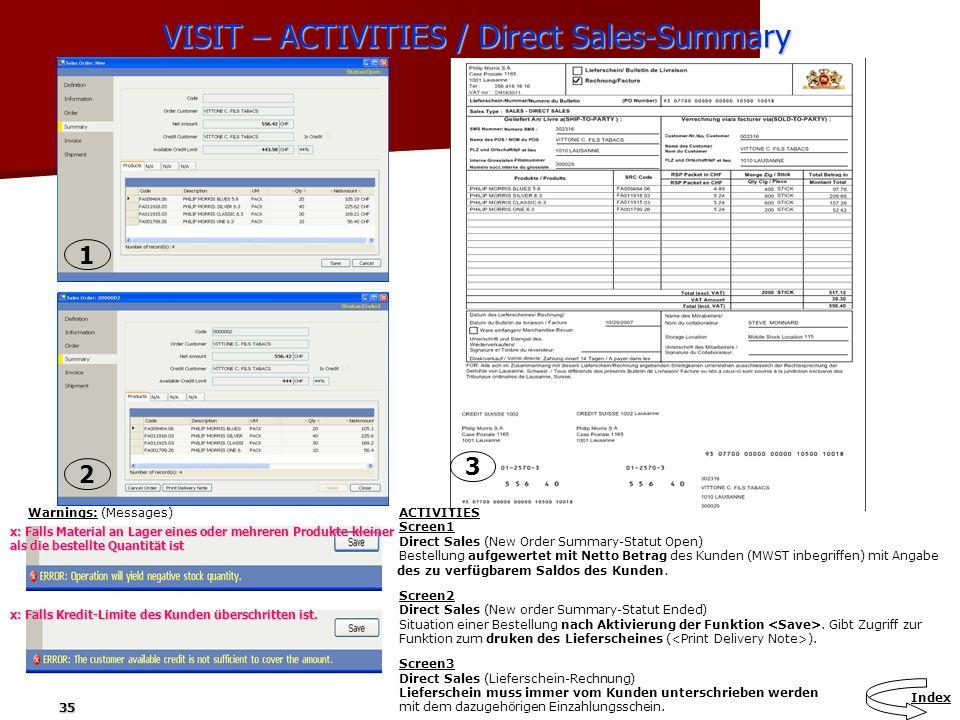 35 VISIT – ACTIVITIES / Direct Sales-Summary Warnings: (Messages) ACTIVITIES Screen1 Direct Sales (New Order Summary-Statut Open) Bestellung aufgewert