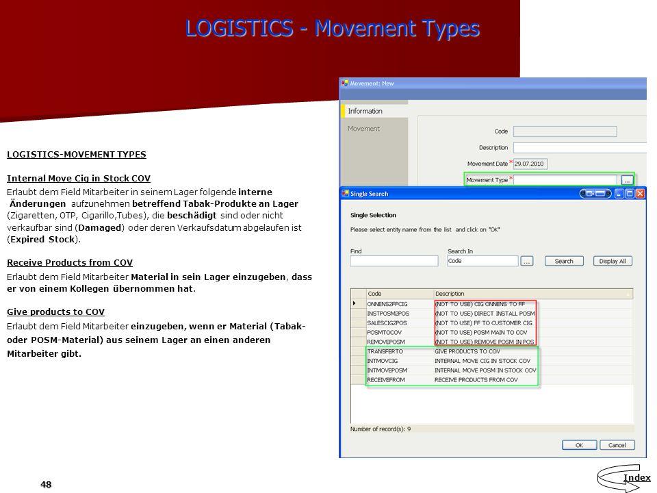 48 LOGISTICS - Movement Types LOGISTICS - Movement Types Index LOGISTICS-MOVEMENT TYPES Internal Move Cig in Stock COV Erlaubt dem Field Mitarbeiter i