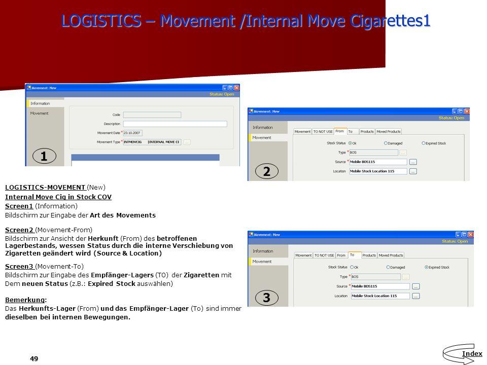49 LOGISTICS – Movement /Internal Move Cigarettes1 LOGISTICS – Movement /Internal Move Cigarettes1 LOGISTICS-MOVEMENT (New) Internal Move Cig in Stock