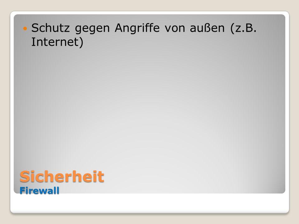 Sicherheit Firewall Schutz gegen Angriffe von außen (z.B. Internet)