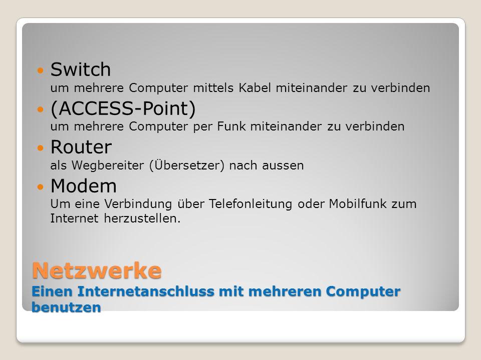 Netzwerke Einen Internetanschluss mit mehreren Computer benutzen Switch um mehrere Computer mittels Kabel miteinander zu verbinden (ACCESS-Point) um m