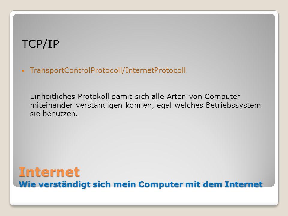 Internet Wie verständigt sich mein Computer mit dem Internet TCP/IP TransportControlProtocoll/InternetProtocoll Einheitliches Protokoll damit sich all