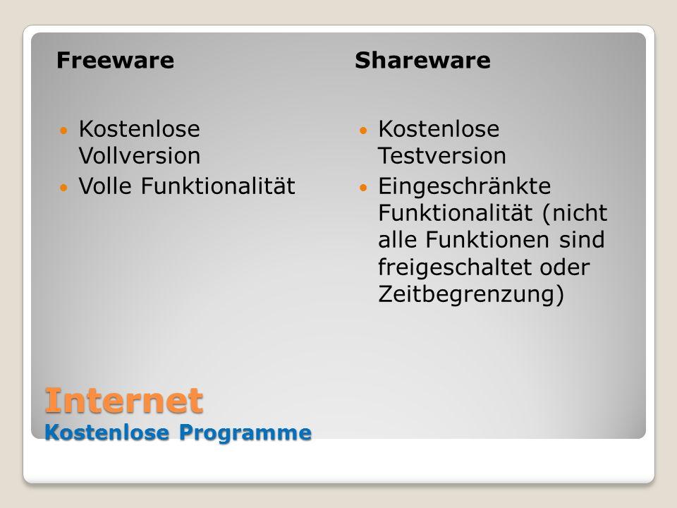 Internet Kostenlose Programme FreewareShareware Kostenlose Vollversion Volle Funktionalität Kostenlose Testversion Eingeschränkte Funktionalität (nich