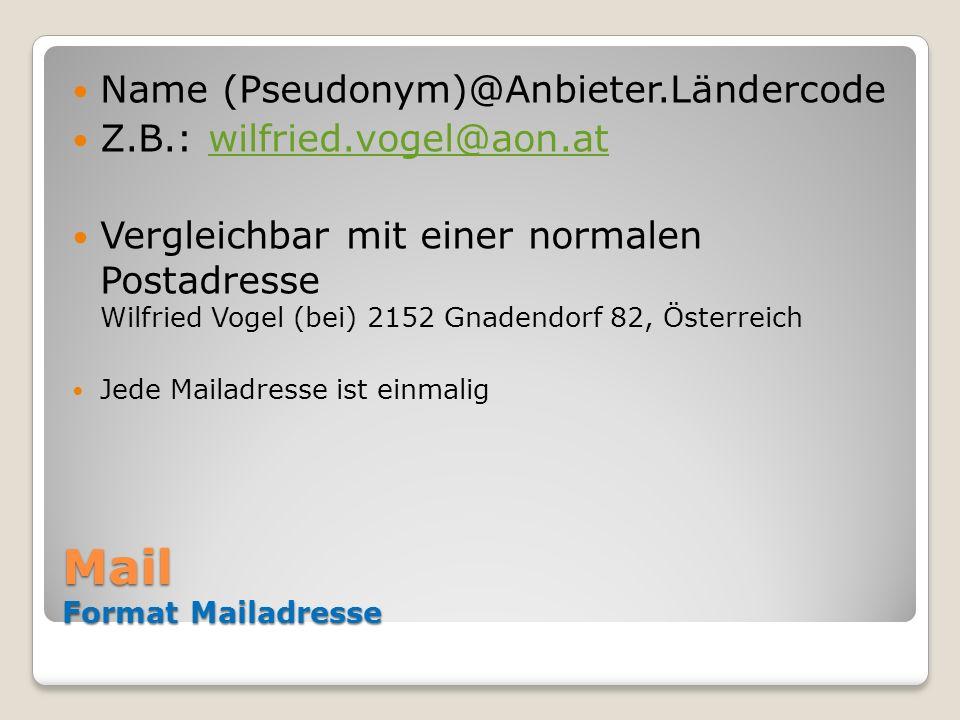 Mail Format Mailadresse Name (Pseudonym)@Anbieter.Ländercode Z.B.: wilfried.vogel@aon.atwilfried.vogel@aon.at Vergleichbar mit einer normalen Postadre