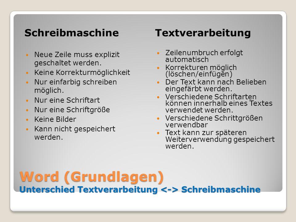 Word (Grundlagen) Unterschied Textverarbeitung Schreibmaschine SchreibmaschineTextverarbeitung Neue Zeile muss explizit geschaltet werden. Keine Korre