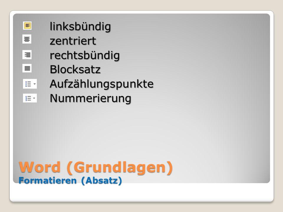 Word (Grundlagen) Formatieren (Absatz) linksbündigzentriertrechtsbündigBlocksatzAufzählungspunkteNummerierung