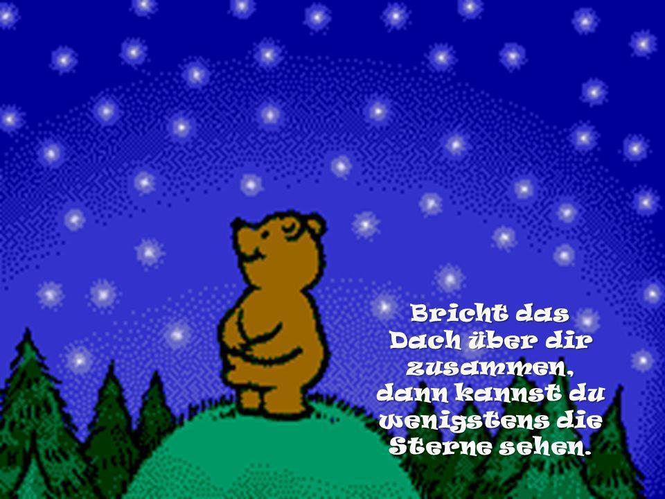 Bricht das Dach über dir zusammen, dann kannst du wenigstens die Sterne sehen.