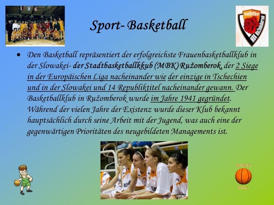 Sport- Basketball Den Basketball repräsentiert der erfolgreichste Frauenbasketballklub in der Slowakei- der Stadtbasketballkkub (MBK) Ružomberok, der 2 Siege in der Europäischen Liga nacheinander wie der einzige in Tschechien und in der Slowakei und 14 Republiktitel nacheinander gewann.